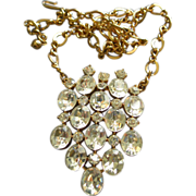 Coro Vendome Gold-Tone Diamond Rhinestone Pendant Necklace