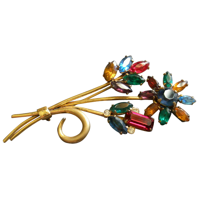 Coro Sterling Silver, Gold Vermeil & Colored Rhinestones Floral Brooch