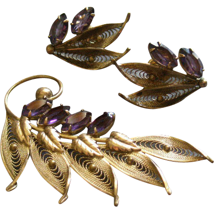 Alice Caviness Gold-Filled Filigree & Amethyst Rhinestones Brooch & Screw-Back Earrings