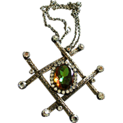 Juliana (DeLizza & Elster) Antique Silver-Tone, Diamond & Watermelon Rhinestone Pendant Necklace