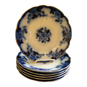 Burgess & Campbell Flow Blue 'Royal Blue' or 'Balmoral' Pattern Dinner Plates