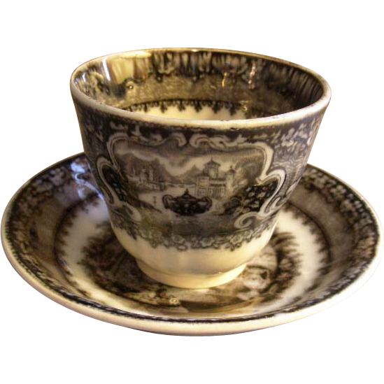 "Podmore, Walker & Co. Mulberry Black Transfer ""Washington Vase"" Pattern Handleless Cup & Saucer"