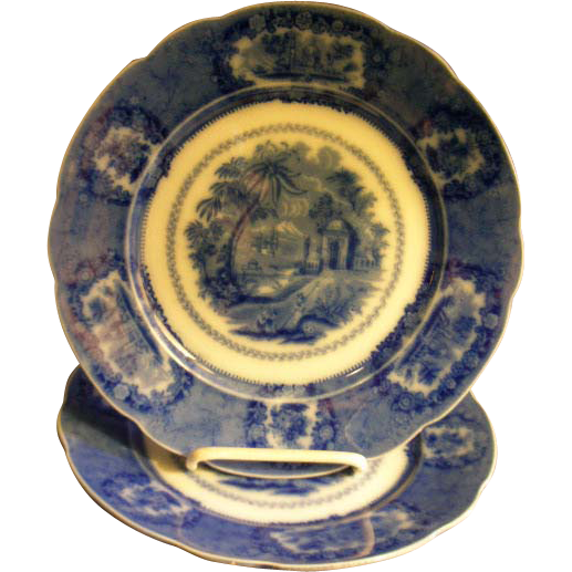 "Ridgways Flow Blue ""Oriental"" Pattern Luncheon Plates"