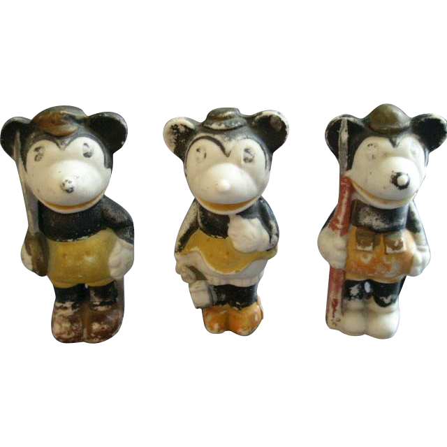"Set of 3 Vintage Walt Disney ""Minnie & Mickey Mouse"" Bisque Figurines"