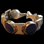Mexican Mid Century Modern Sterling Silver & Lapis Lazuli  Bracelet