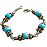 Hallmarked Clyde Duneier, Inc.  Sterling Silver, 14K Gold & Faux Turquoise  Link Bracelet