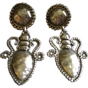 Vintage 'Edouard Ramaud' Paris Antique Silver-Tone Baroque-Style Clip Earrings