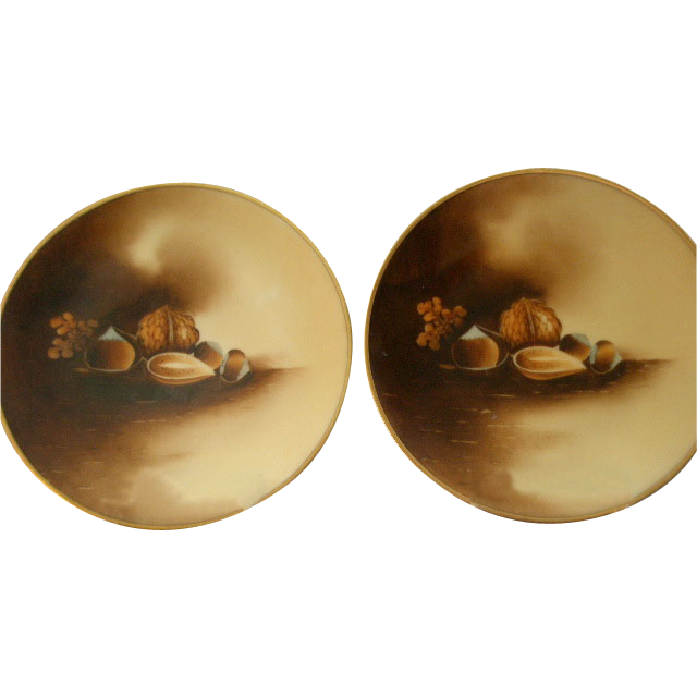 "Stouffer Studio H.P. ""Mixed Nuts"" Motif - Pair of Cabinet Plates"