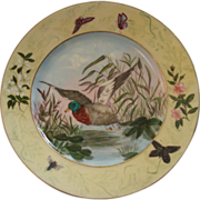 Charles F Haviland H.P. Soup Plate w/Game Bird, Insects & Floral Motif