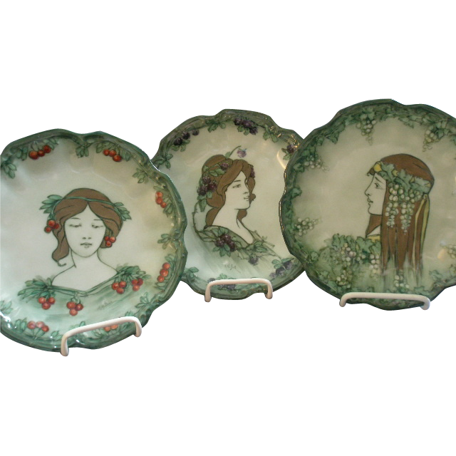 Set of 3 Hand Painted Coiffe Limoges Art Nouveau Portrait Plates