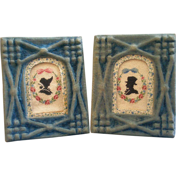 Pair of Victorian Needlepoint Silhouettes w/ Period Velvet Covered Frames