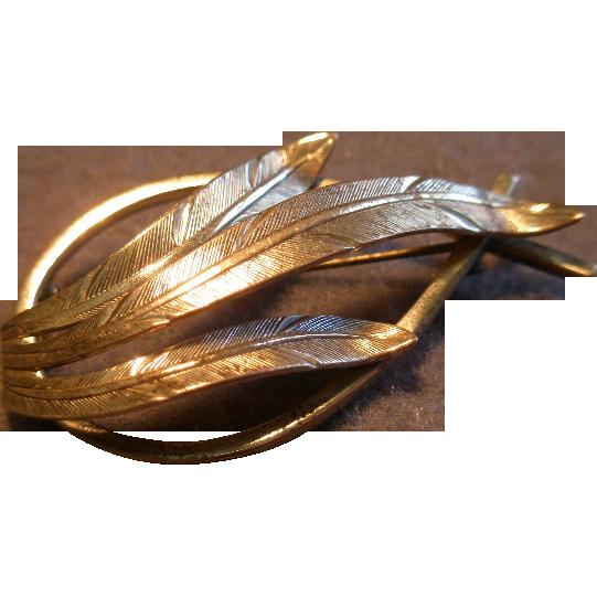 "Danecraft Sterling Silver Mid-Century ""Feather"" Motif Brooch"