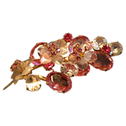 Coro Vendome Gold-Tone Floral Lucite,  Rhinestone & Crystal Decorated Brooch