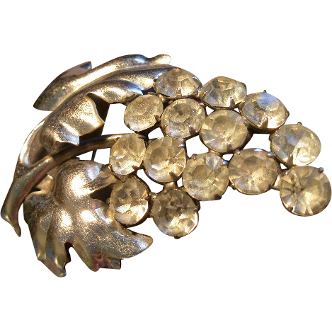 """Staret"" Silver-Tone & Diamond Rhinestones 'Cluster of Grapes' Brooch"
