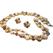 Coro Vendome Cut Crystals, Glass White Swirl & Rose Decorated Beads Necklace & Earrings Demi-Parure