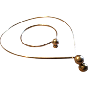 Mid-Century Modernist Sterling Silver 'Collar' Necklace & Bracelet