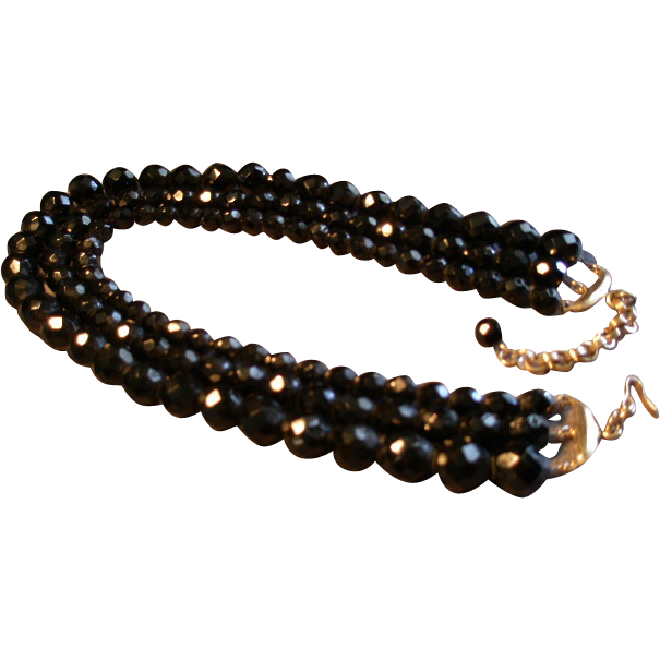 Triple Strand Jet Black Faceted Glass Bead Necklace