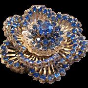 Coro Vendome 'Trembler' Silver-Tone & Blue Sapphire Rhinestone Floral Brooch
