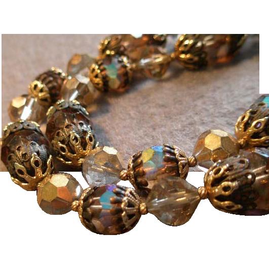 Coro Vendome Faceted Aurora Borealis Crystal Bead Choker Necklace