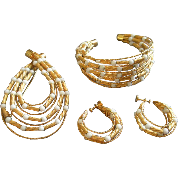 Coro Vendome Gold-Tone Beads & Wire w/White Beads Bracelet, Brooch & Earrings Parure