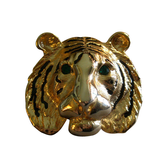 "Vintage Gold-Tone, Black Enamel & Emerald Rhinestone ""Lion Head"" Brooch"
