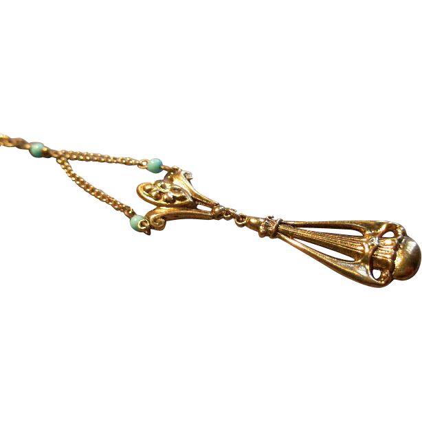 """""""Art"""" or 'Mode-Art"""" Victorian-Style Gold-Tone & Faux Turquoise Beads Lavalier"""