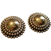 Israel Modernist Electroform Sterling Silver & Gold Vermeil Clip Earrings