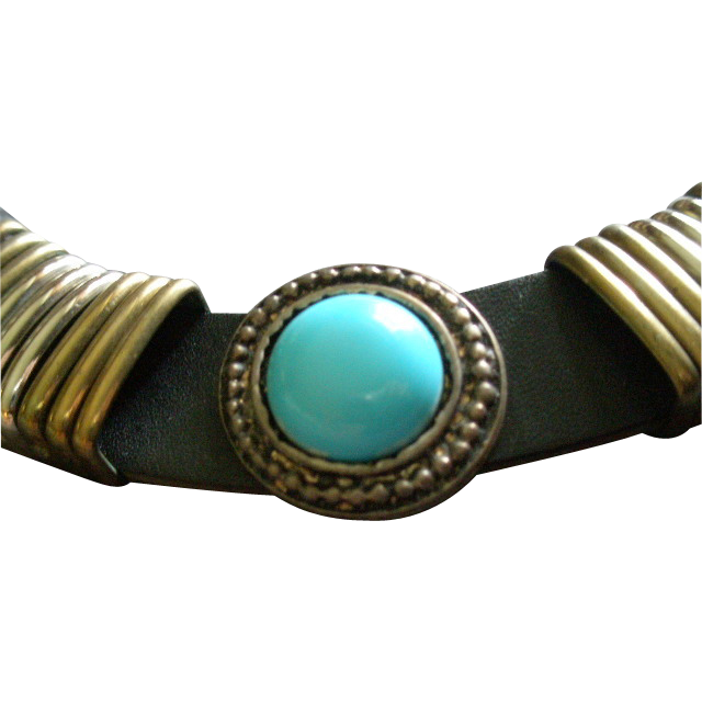 Vintage Gold & Silver Tone, Leather & Faux Turquoise Fashion Necklace