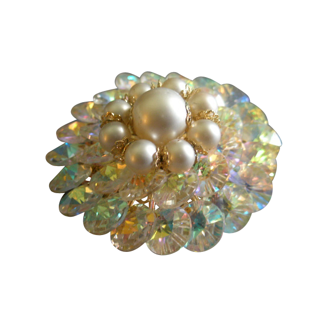 Coro Vendome Gold-Tone, Cut Crystals & Faux Pearls Brooch