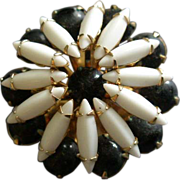 "Juliana (DeLizza & Elster) Gold-Tone, White Navette & Black Bead ""Floral"" Motif Brooch"