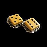 """Vintage Ivory """"Bakelite"""" Clip-Style Dice Earrings Set"""