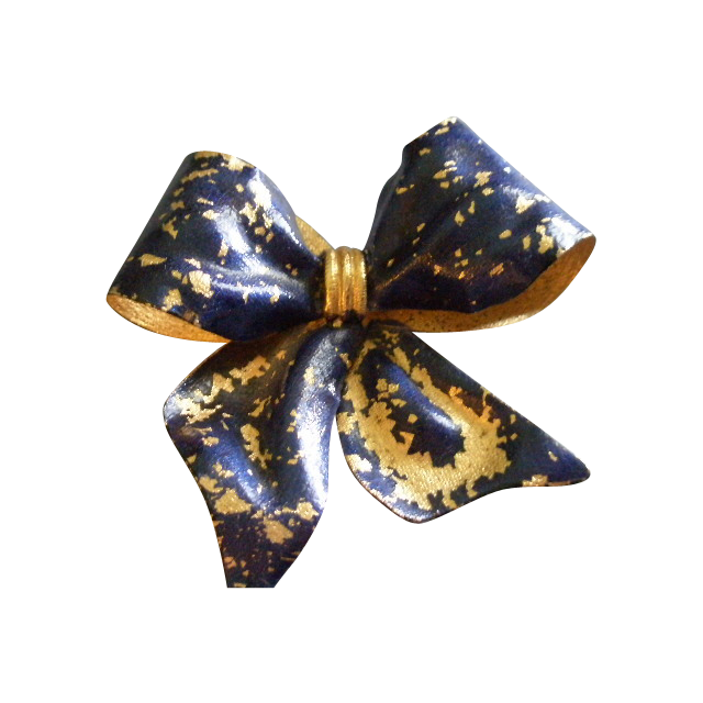 Coro Vendome Gold-Tone & Cobalt Blue Enameled 'Bow' Brooch