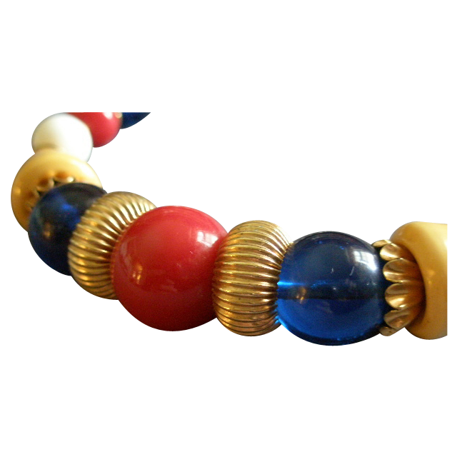 Coro Vendome Gold-Tone & Red, White, Blue, Yellow  Bead Collar Necklace