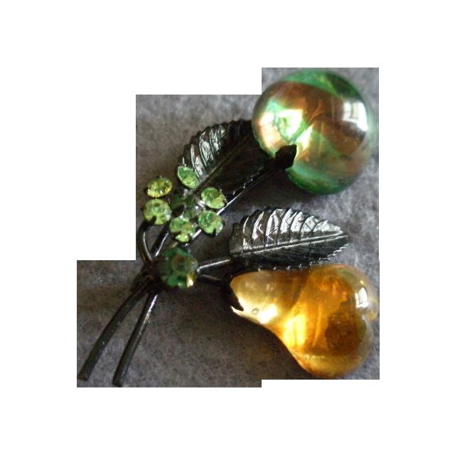 Vintage Austrian Lucite Fruit Brooch w/Pear, Apple & Rhinestone Blossom