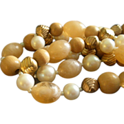 "Vintage ""Cadoro""  Designer Antiques Gold-Tone, Faux Pearl, Swirl & Wood-Grained Beads Necklace"