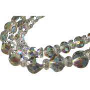"""Laguna"" Double-Strand Cut Crystal Bead Wedding-Style Necklace"