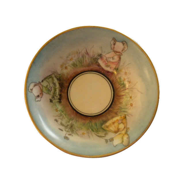 "T & V Limoges Hand Painted ""Sunbonnet Babies"" Bowl - One-of-a-kind"