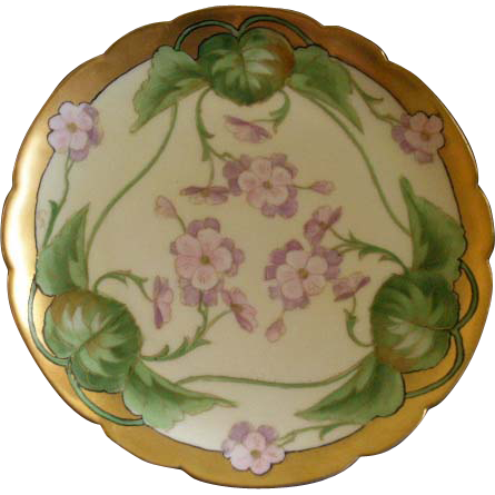 J.H. Stouffer Hand Painted Cabinet Plate w/Pink/Lavender Geranium Floral Motif