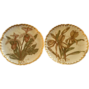Pair of CFH/GDM Hand Painted Cabinet Plates w/Lady Slipper Orchid Floral Motif
