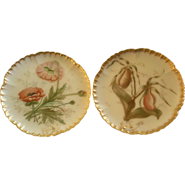 Pair of CFH/GDM Hand Painted Cabinet Plates w/Lady Slipper Orchid & California Poppy Floral Motif