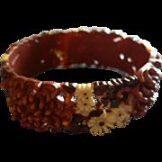 Vintage Russet, Dark Brown & Light Yellow Molded Floral Celluloid Bangle Bracelet