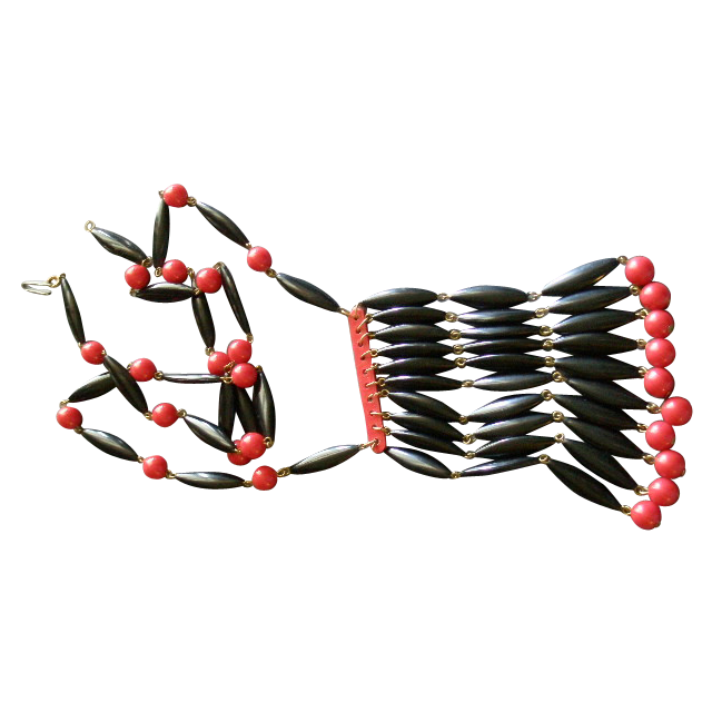 Vintage Red & Black 'Egyptian Bib Style' Bakelite Necklace