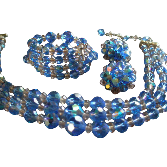"""Laguna"" Blue Cut Crystal & Lucite Bead Triple-Strand Necklace, Bracelet & Earrings Parure"