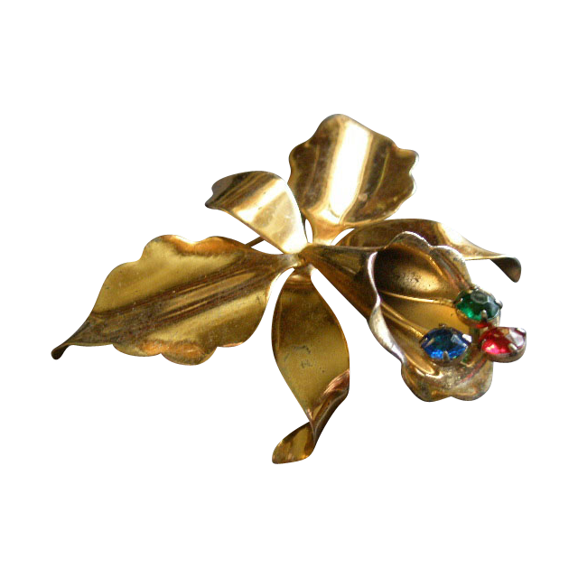 Hector Aguilar/Coro Gold Vermeil, Silver & Colored Rhinestone Cattleya Orchid Brooch
