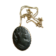 "Black Moulded ""Cameo"" Pendant Necklace of a Gorgeous Lady"