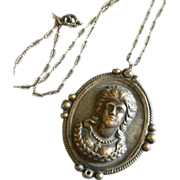 Sterling Silver Repousse Pendant Necklace w/Image of Victorian-Era Lady
