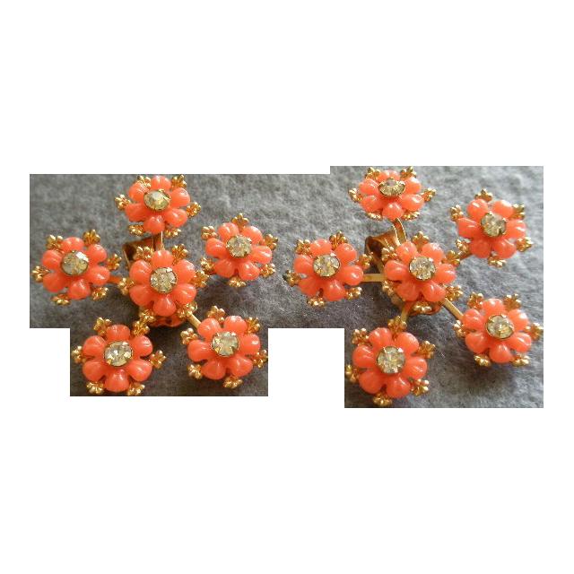 Vintage Gold-tone, Plastic Floral & Diamond Rhinestone Earrings