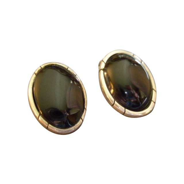 Mexican Modernist Sterling Silver & Onyx Oval Clip-Style Earrings
