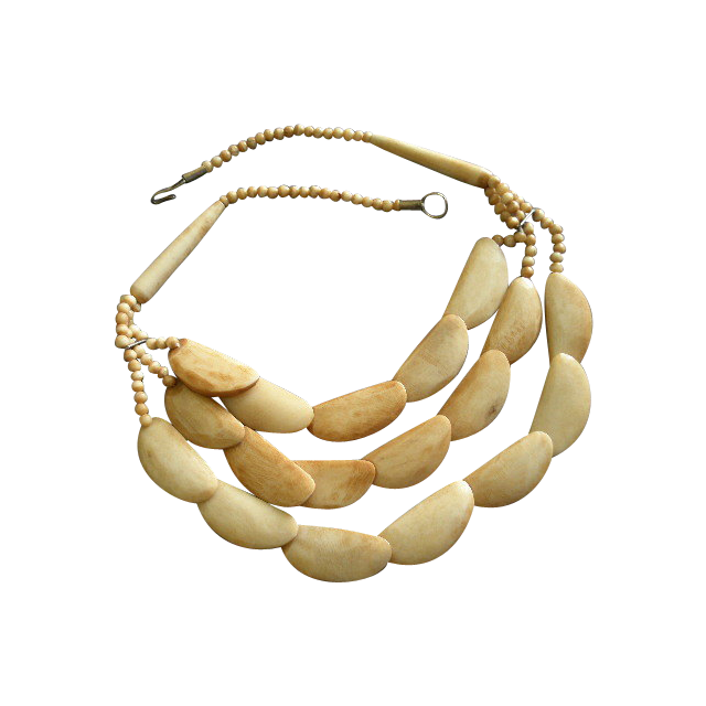 Designer Silver-Tone & Faux Bone Ethnic or Tribal Style Necklace