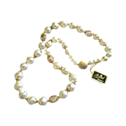 """Garne"" Faux Baroque Pearl & Gold-Tone Filigree Bead Necklace"